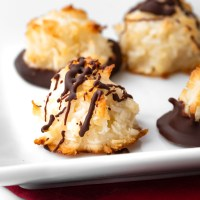 Sweet coconut cookies topped with semi-sweet chocolate. These Chocolate Coconut Macaroons are a quick, easy, and tasty treat!