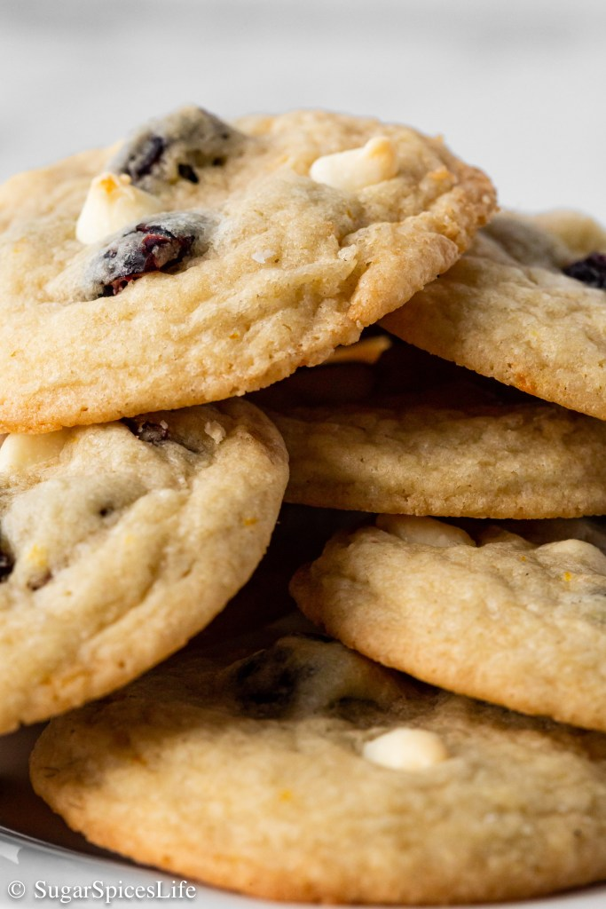 Soft, chewy cookies with a hint of orange, filled with sweetened dried cranberries and white chocolate chips. These Cranberry White Chocolate Cookies are an addictively delicious treat!