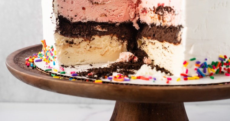 Homemade Neapolitan Ice Cream Cake