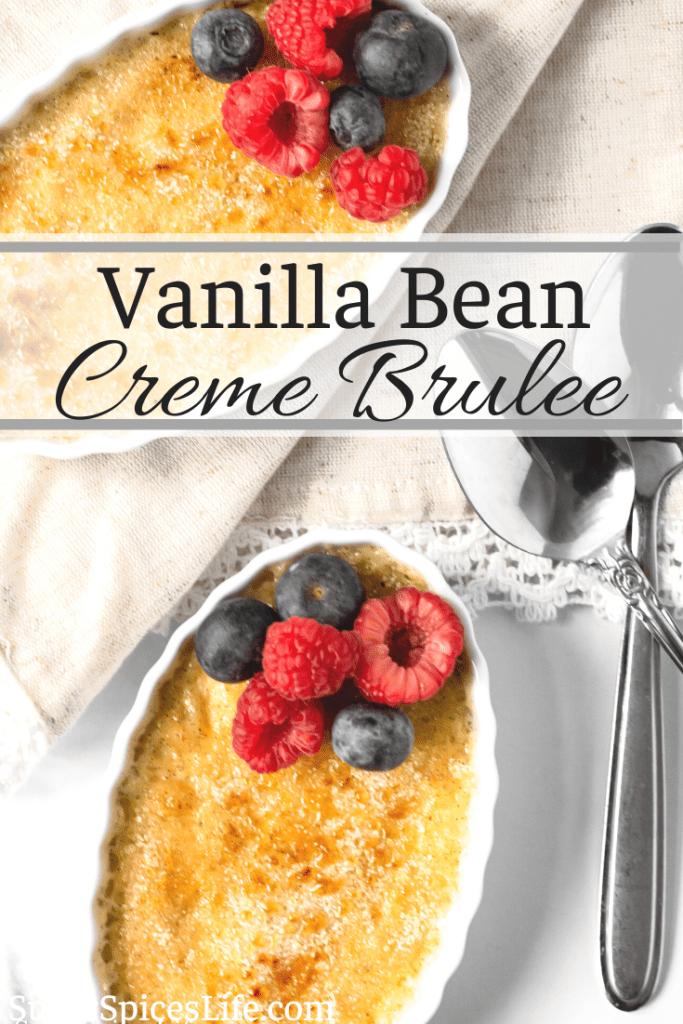 Creamy, vanilla bean custard with a crisp, caramelized sugar top. This Vanilla Bean Creme Brulee is a beautiful, delectable dessert!