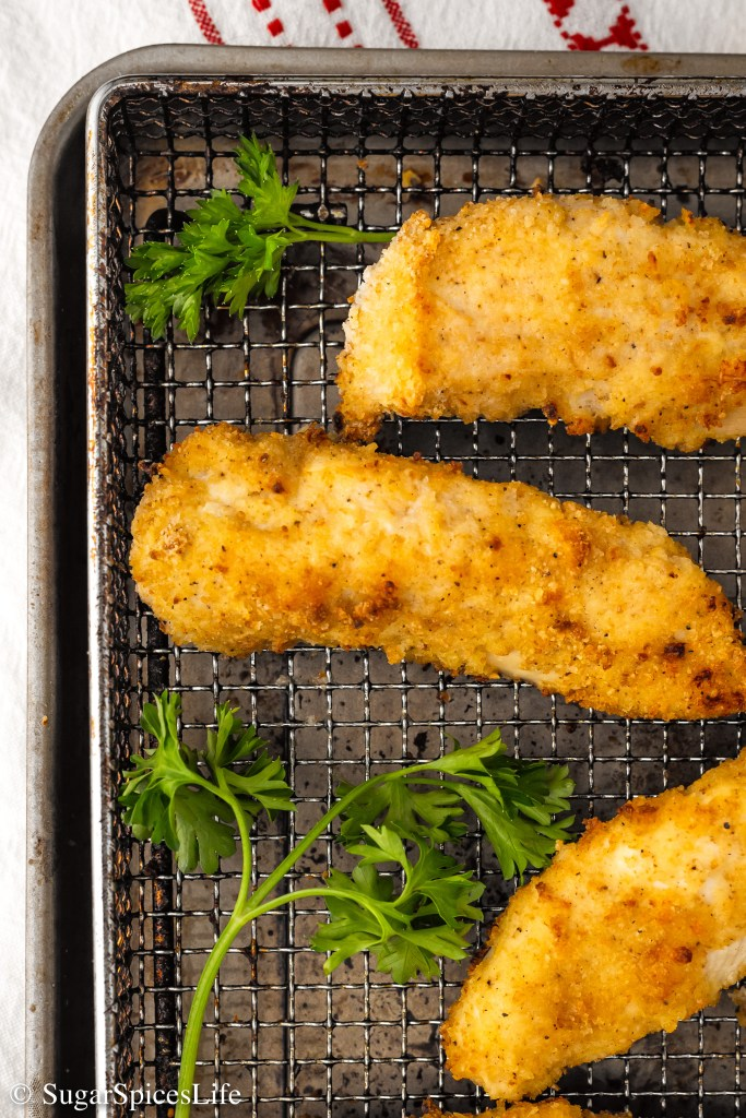 Chicken tenders breaded in a perfectly seasoned breadcrumb mixture, lightly coated in oil, and air fried to have a crispy exterior and juicy interior. These Air Fried Chicken Fingers will delight the pickiest of eaters!