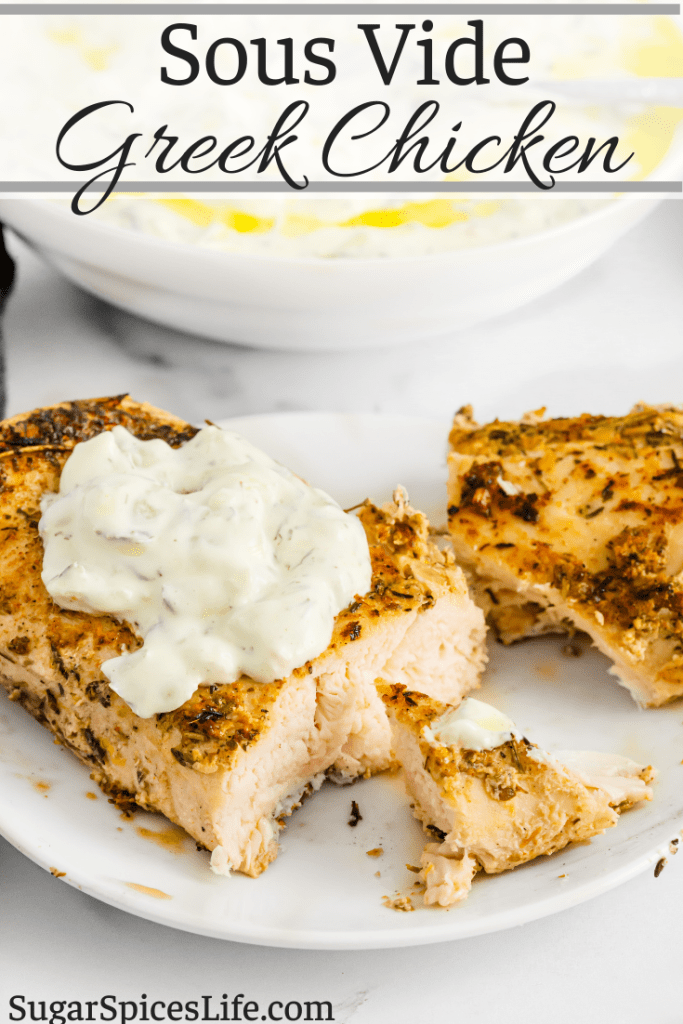 Chicken marinated in a Greek style sauce, then cooked sous vide to be incredibly tender. This Sous Vide Greek Chicken is easy to make, and full of wonderful flavor!