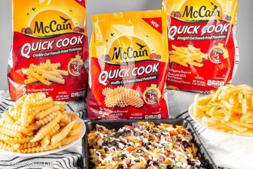 #ad McCain® Quick Cook Waffle Cut Fries topped with chicken, beans, salsa, and lots of melty cheese. These Quick Loaded Waffle Fries are quick to make so you can enjoy more time with family! #mccainquickcookpotatoes