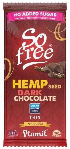 So free No added sugar Hemp 72% Cocoa Thin by Plamil