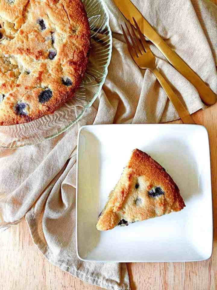 a slice of low-carb blueberry coffee cake
