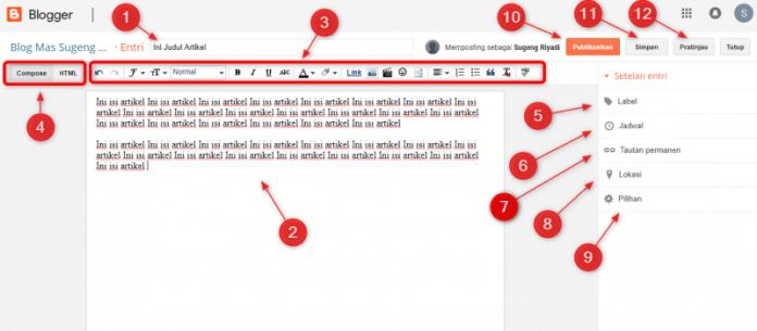 Cara Mudah Posting Artikel Di Blogger - Tampilan Menu Postingan Di Blogger