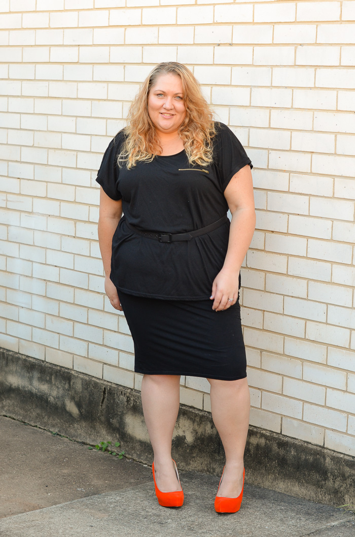 plus size monochrome outfit with heels-7
