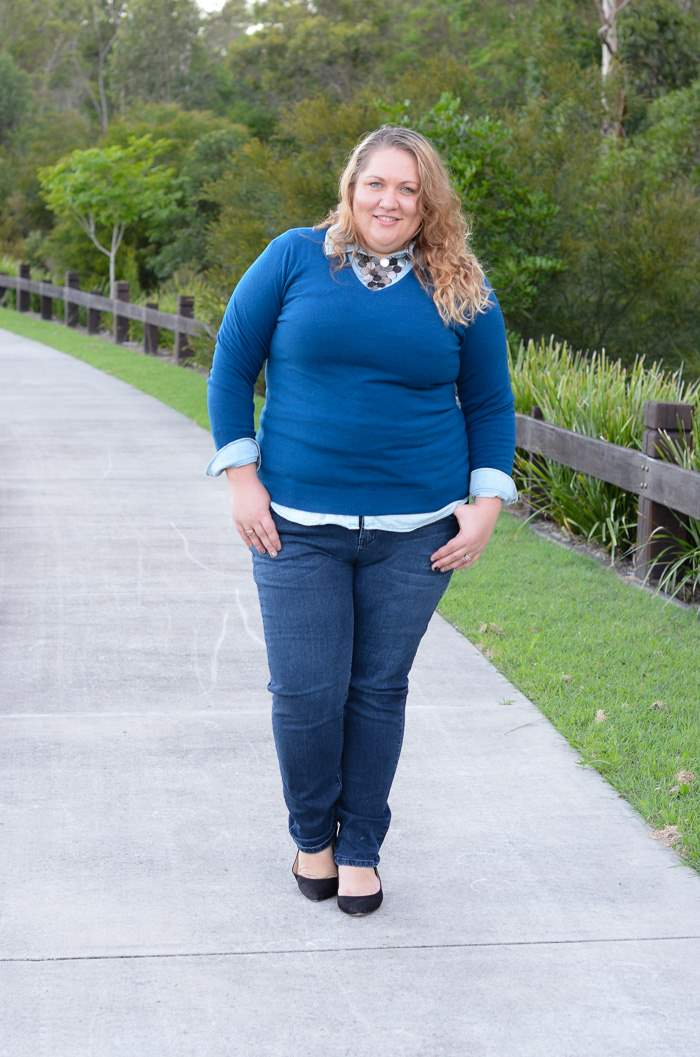 plus size jeans chambray layers outfit