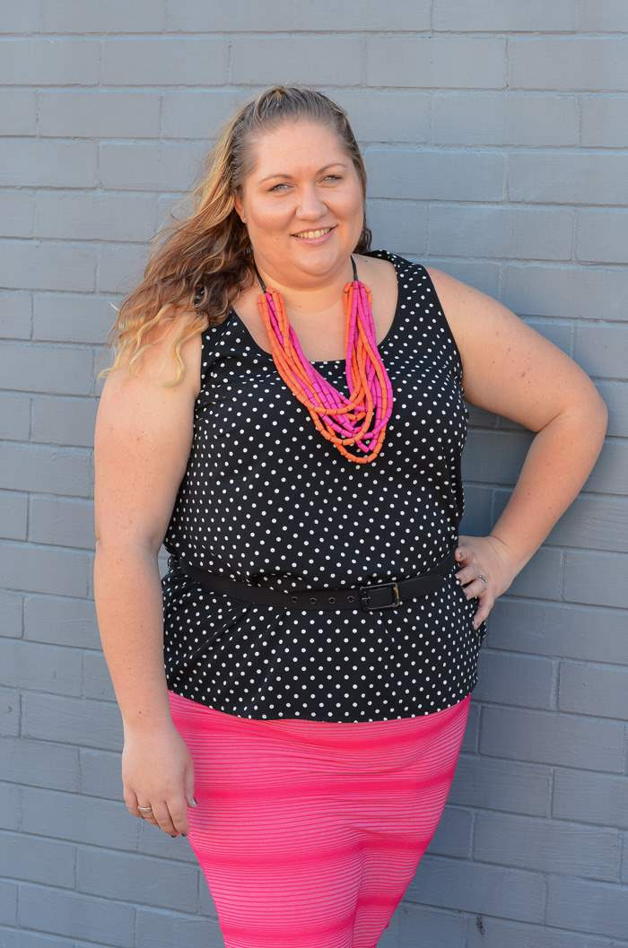 plus size spots and stripes colourful outfit-9