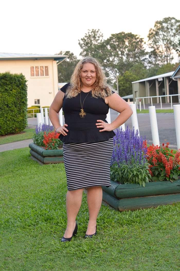 plus size stripe pencil skirt peplum outfit-5
