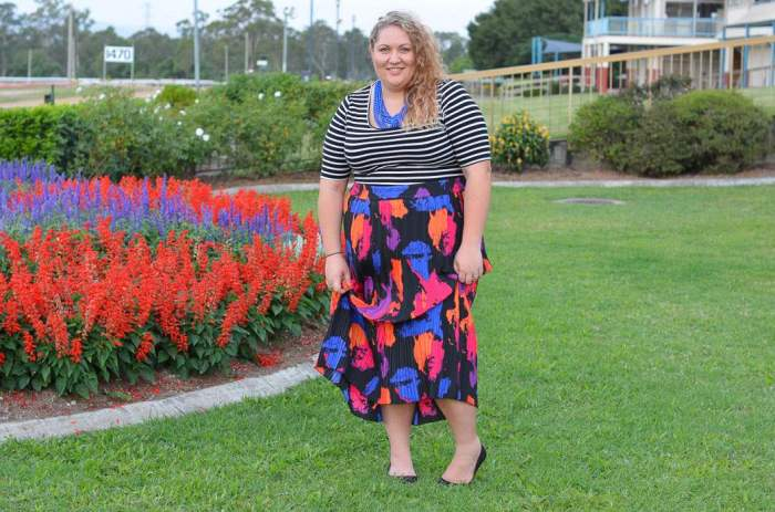 plus size stripes bright maxi skirt-6