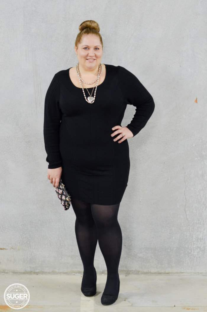 black knit dress with tights plus size-3