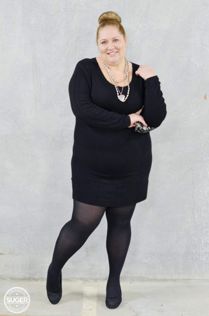 black knit dress with tights plus size