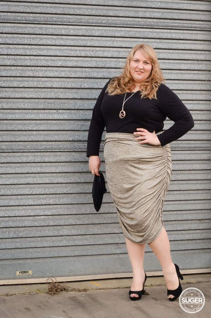plus size rouched skirt outfit-2