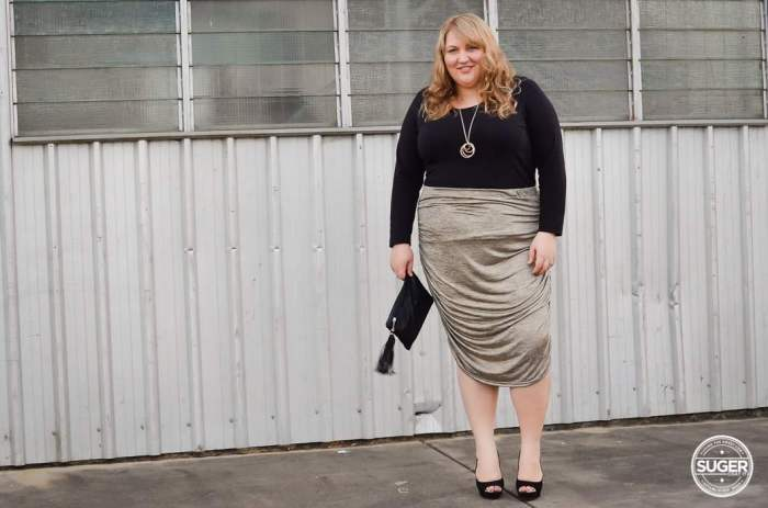 plus size rouched skirt outfit-5