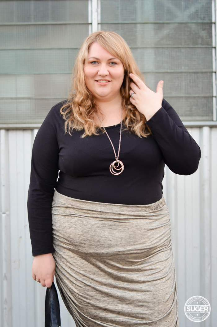 plus size rouched skirt outfit-7