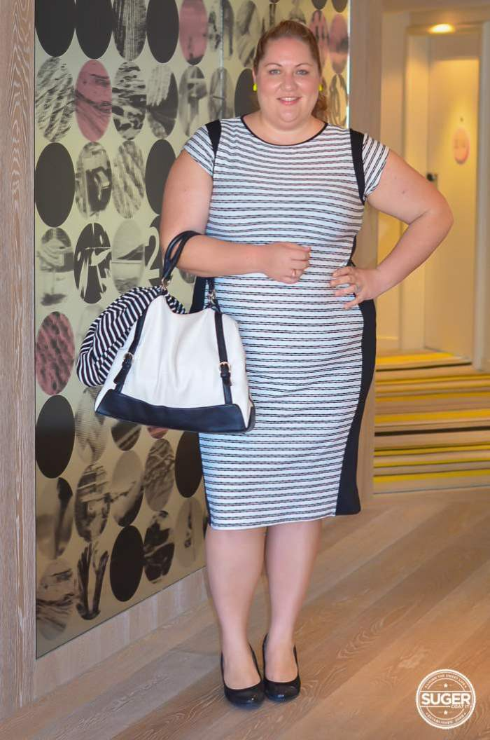 Stripe Inspire Bodycon plus size conference outfit-1