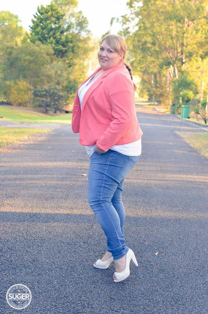 plus size blazer + jeans + heels outfit-5