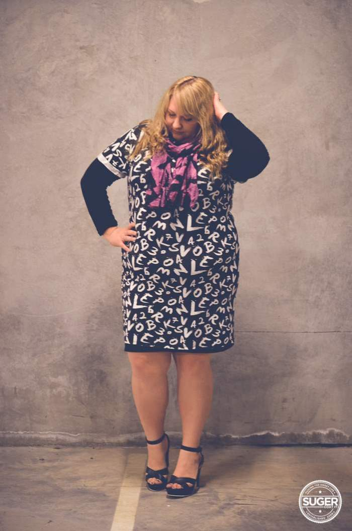 plus size mini dress with layers + heels-2