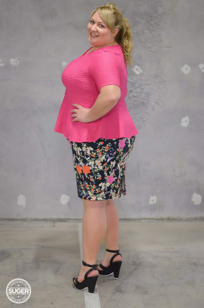 plus size peplum and floral with heels-11