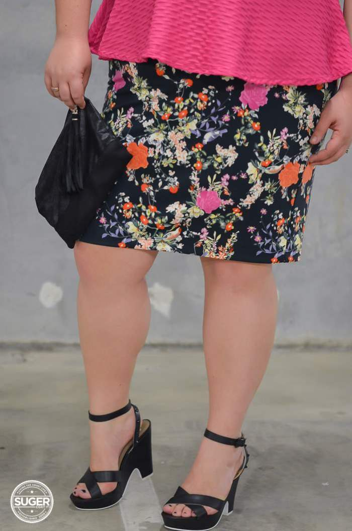 plus size peplum and floral with heels-6