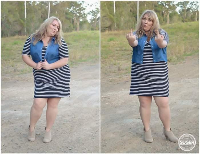 plus size stripe dress chambray outfit-8