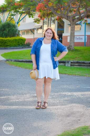 plus size white dress + chambray summer-1