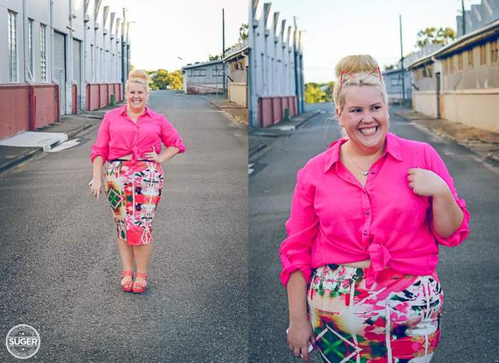 plus size fashion cut for evans pink floral skirt-001