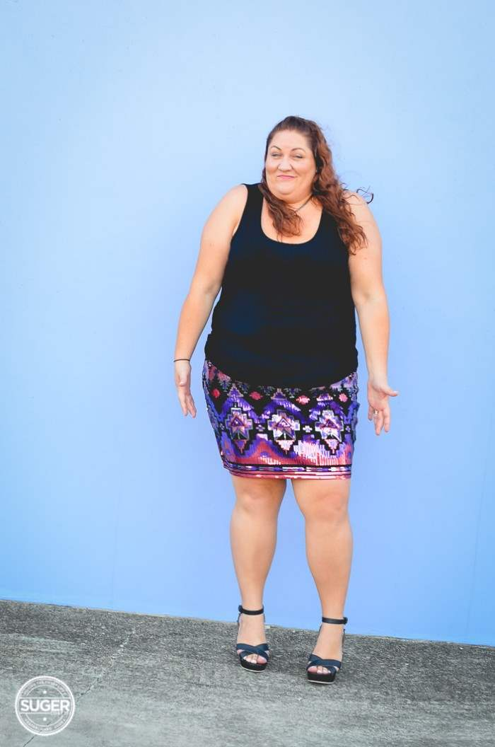 plus size sequin skirt fun outfit-1