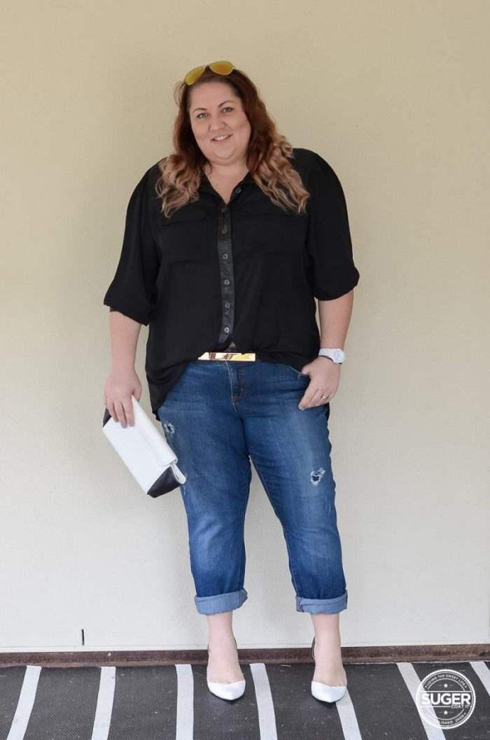 dress up boyfriend jeans plus size outfit-1