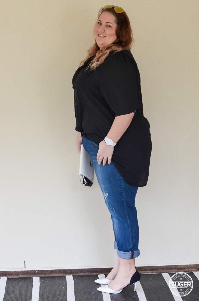 dress up boyfriend jeans plus size outfit-2