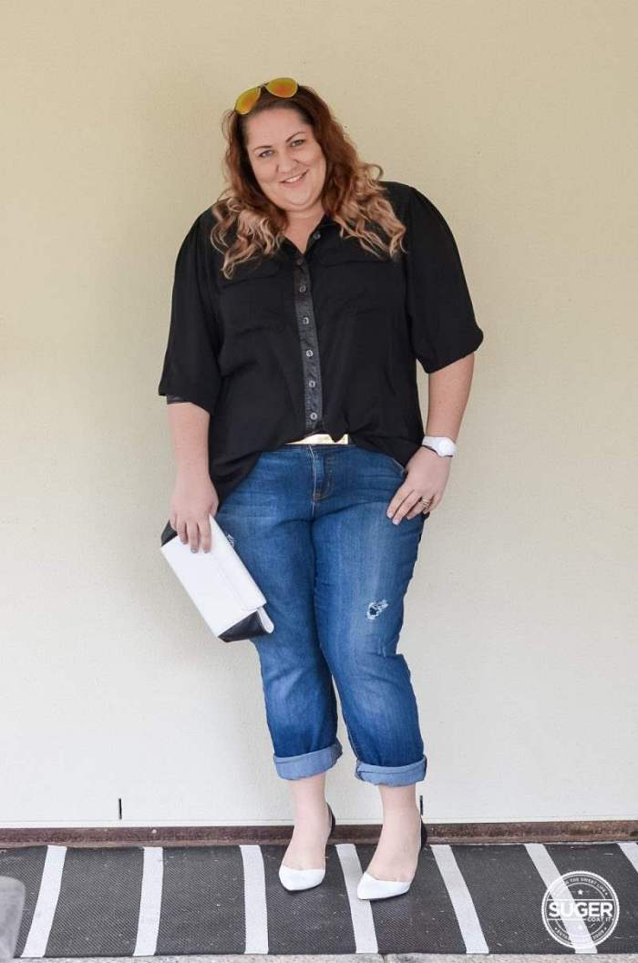 dress up boyfriend jeans plus size outfit-3