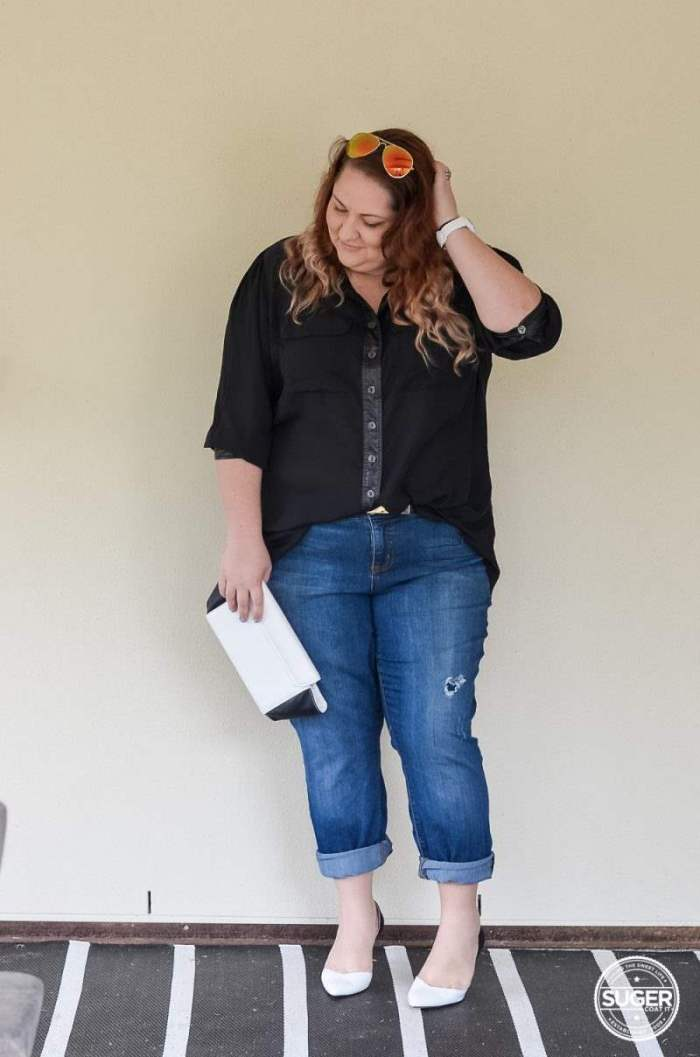 dress up boyfriend jeans plus size outfit-5