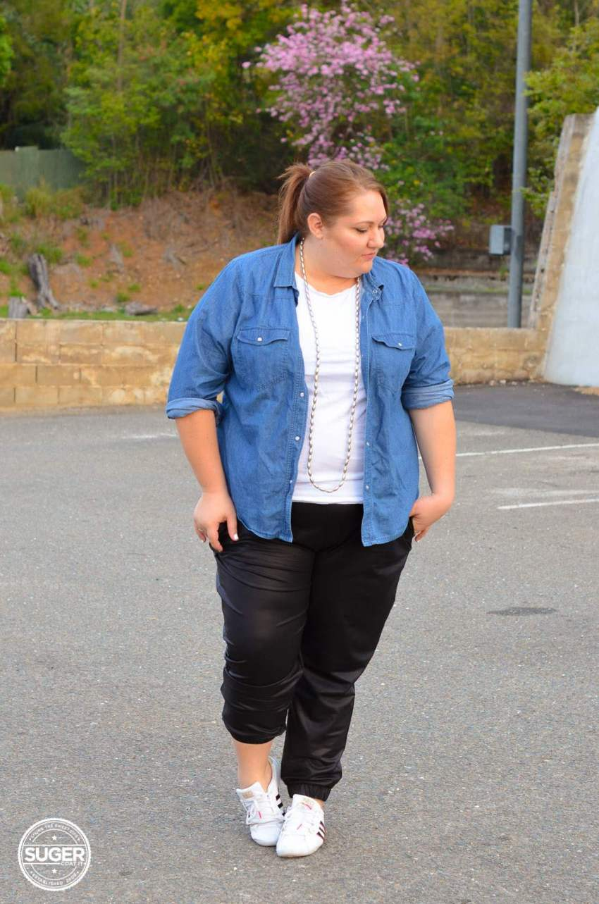 casual chambray + leather joggers plus size outfit-11