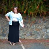 casual chambray shirt maxi skirt outfit plus size-5