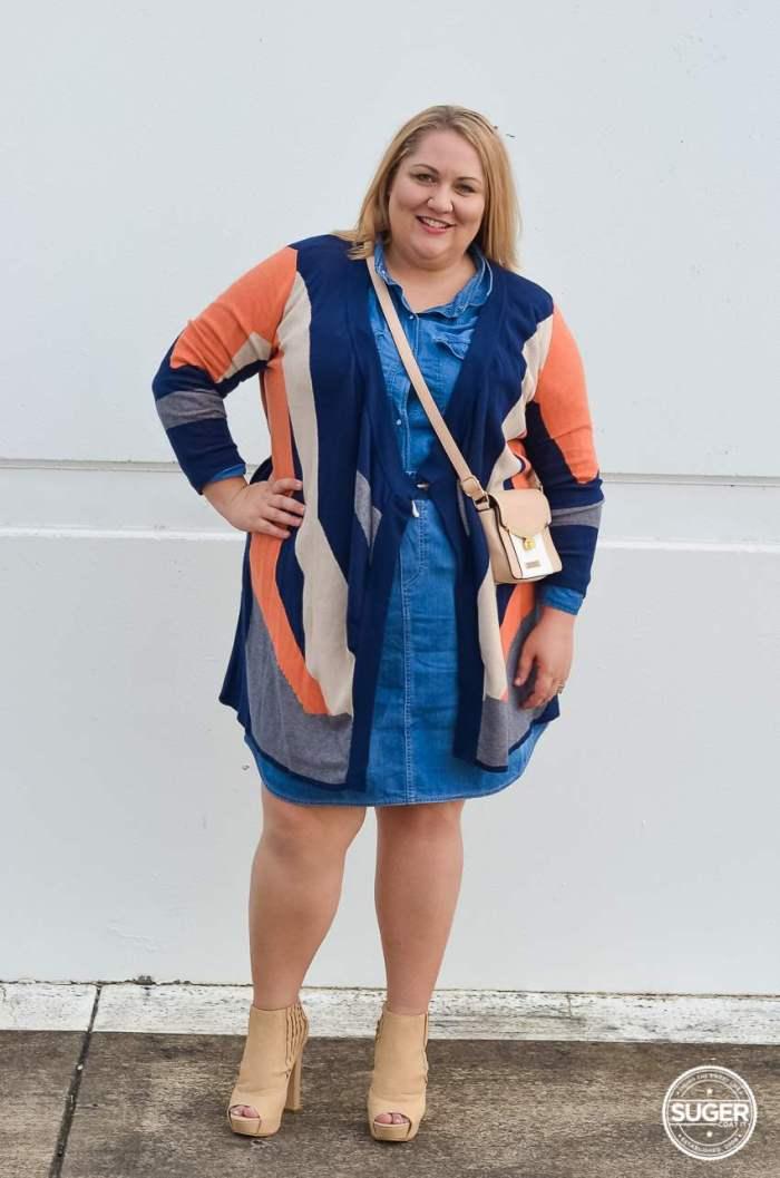 plus size double denim outfit ankle boots knit jacket-1