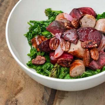 baked suasage beetroot pecan kale salad-14