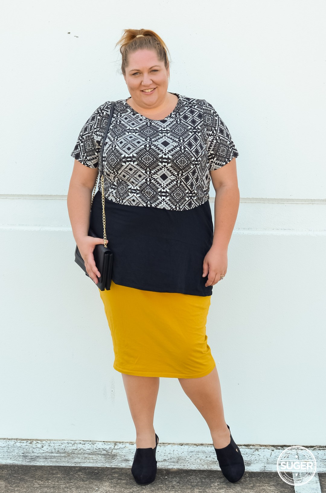layered plus size crop pencil skirt outfit-1