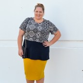 layered plus size crop pencil skirt outfit
