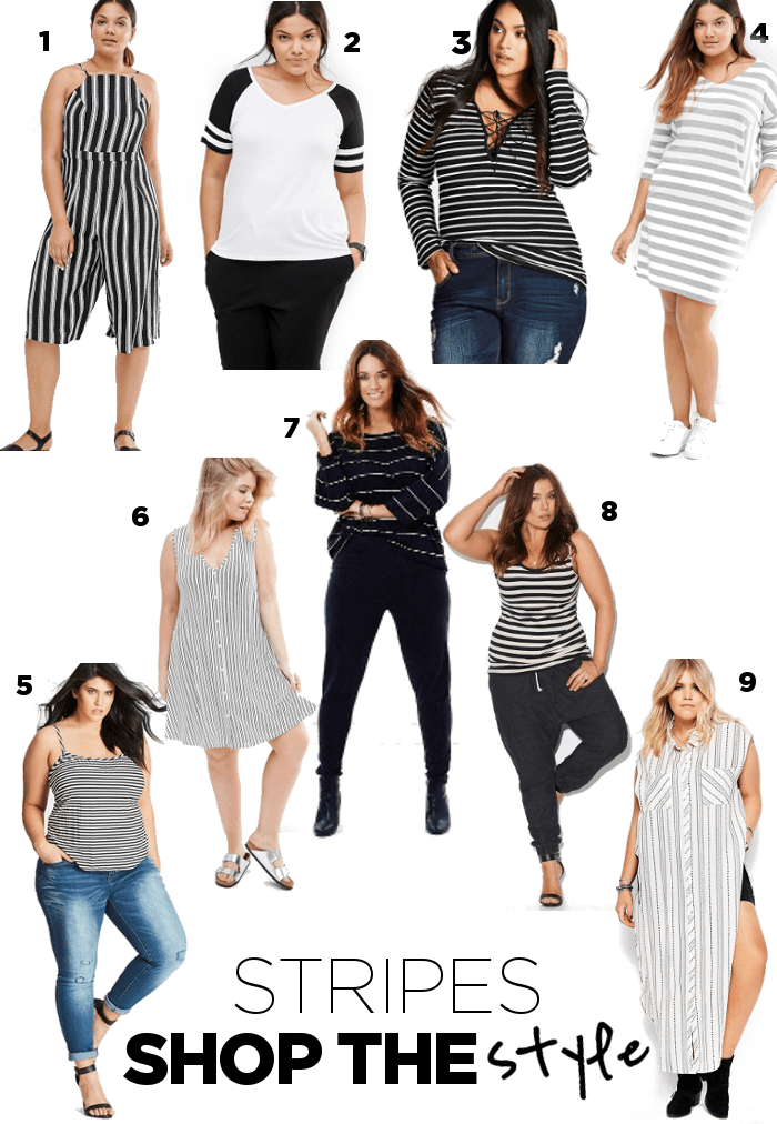 Steal Her Style Plus Size Stripes Shopping Board