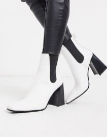 Topshop leather heeled chelsea boots
