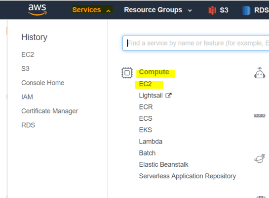 Amazon Ec2 Login page and this page will take you to Ec2 section
