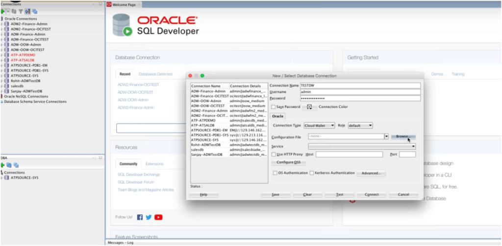 New SQL Developer connection Setup.