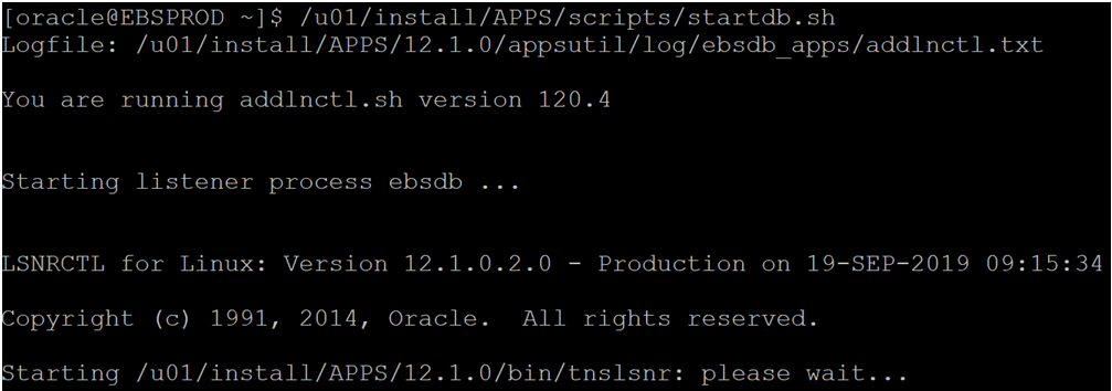 Start the Database using oracle user and run the start db command
