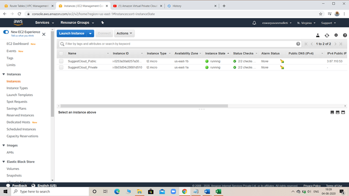 Instance page with launched EC2 Machine.