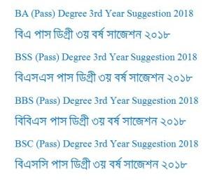 Degree 3rd Year Suggestion 2018(ডিগ্রী তৃতীয় বর্ষ সাজেশন ২০১৮)