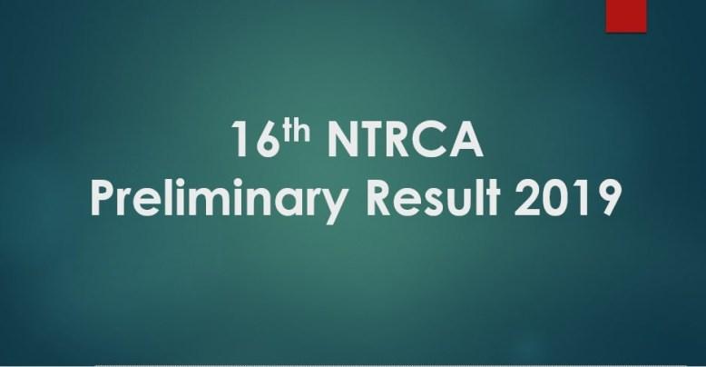 16th NTRCA Preliminary Result 2019