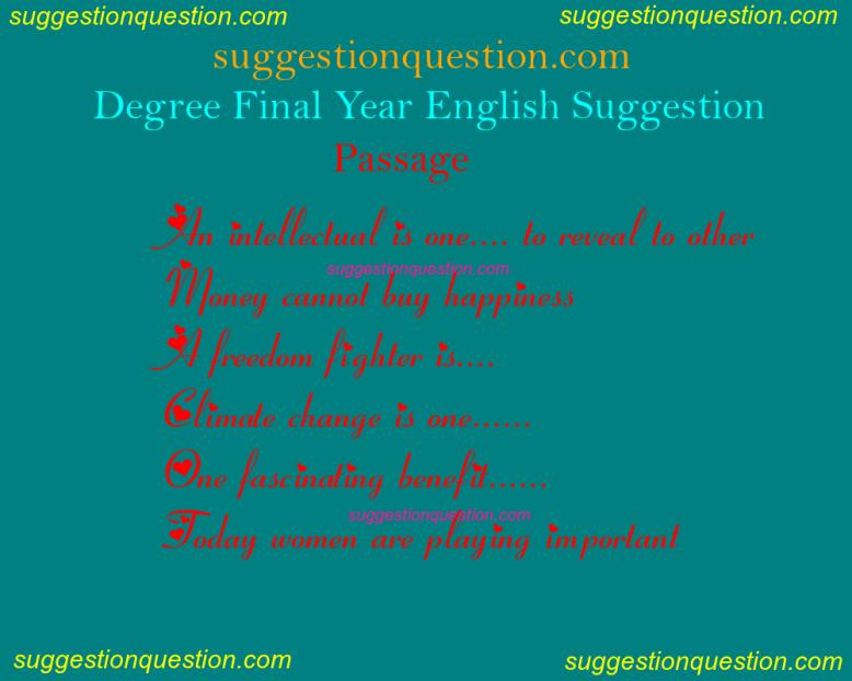 Degree 3rd Year English Suggestion 2019