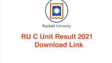 RU C Unit Result 2021 Download Link Rajshahi University Admission Test 2020-21