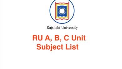 RU A, B, C Unit Subject List 2021 Rajshahi University Unit Details